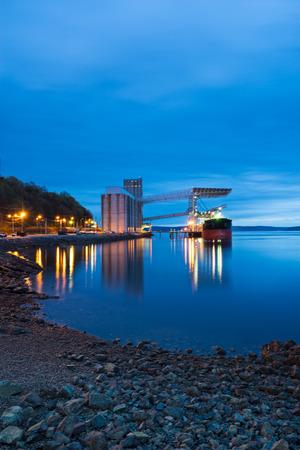 waterfronts: Ship Being Loaded At Grain Terminal In Tacoma Washington