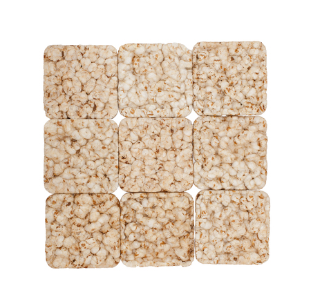 crunchy: Square composition of nine crunchy rye crispbreads, isolated