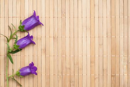 ultramarine: Ultramarine colored bellflower on beige bamboo napkin, copyspace