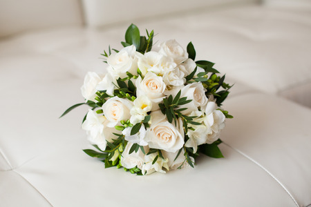 Close up of beautiful wedding bouquet, white background