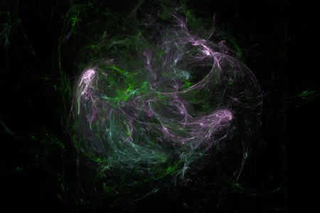 deep pink: Dark abstract fractal background, deep green and pink waves