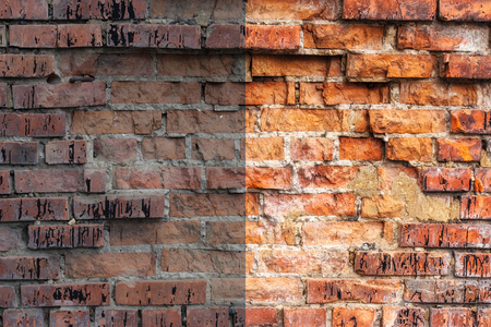 edited photo: Photo before and after the image editing process. Weathered stained old orange and red brick wall, texture grunge background