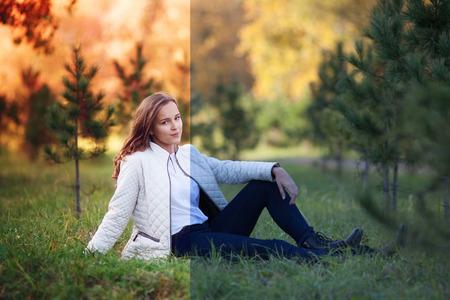Foto vor und nach dem Bildbearbeitungsprozess. Junge schöne Frau im Herbst Park sitzen