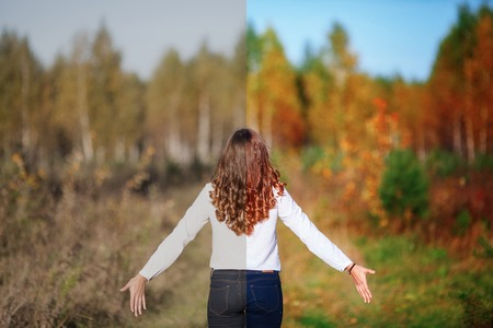 Photo before and after the image editing process. Young beautiful woman with long hair, back view. Autumn park