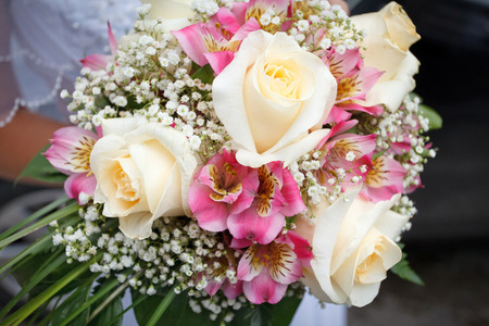 Beautiful pink and white wedding bouquet of roses Stock Photo