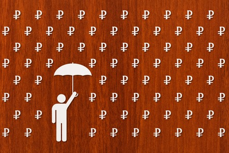 paper umbrella: Paper man with umbrella standing in rain of rubles, money concept, abstract conceptual image