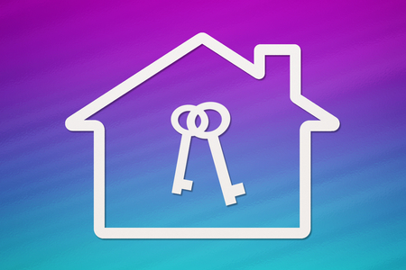 residence: Paper house with keys inside on colorful background. Housing, family concept. Abstract conceptual image