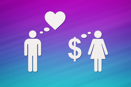 Paper couple, love vs money. Colorful background. Abstract conceptual image