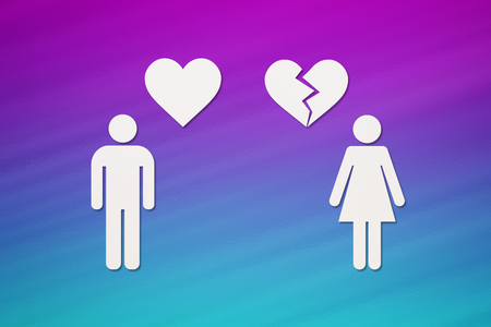 Paper man with heart and woman with broken one on colorful background. Unrequited love or divorce concept. Abstract conceptual image