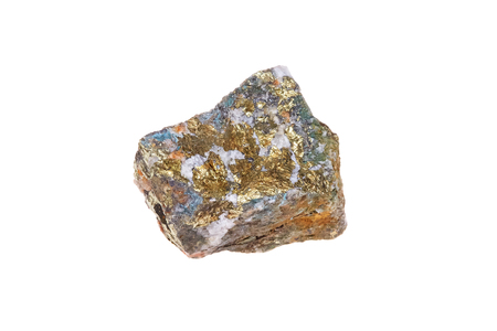 Chalcopyrite mineral stone, copper iron sulfide, isolated on white background, macro Foto de archivo