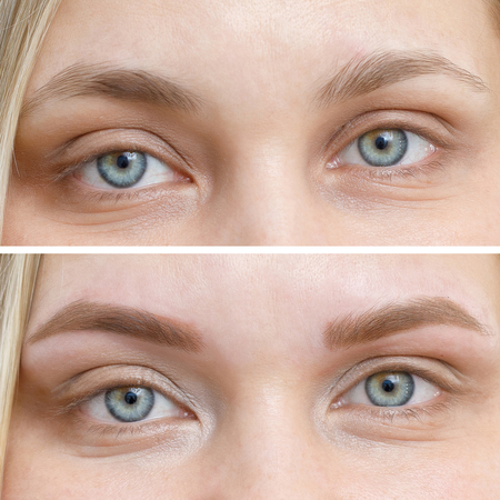 Photo comparison before and after permanent makeup, tattooing of eyebrows for woman in beauty salon