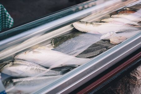 Fresh raw fish in fridge of supermarket or restaurant in ice. Seafood healthy eating concept