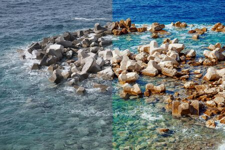 Photo before and after the image editing process. Coastline sea rocks with clear blue water
