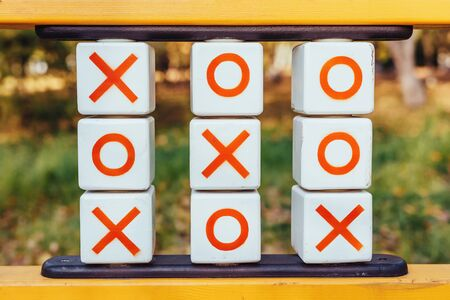 Children's playground with tic tac toe game stand. Winning combination Stok Fotoğraf