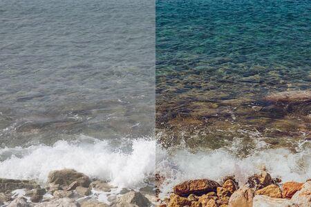 Foto antes y después del proceso de edición de imágenes. Rocas del mar de la costa con agua turquesa clara