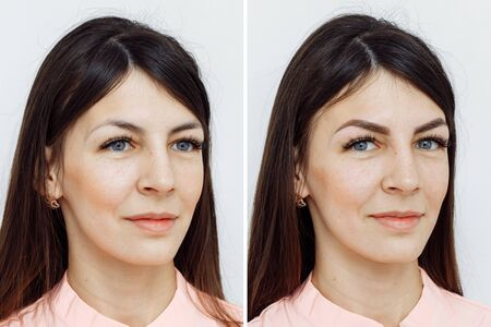 Comparación de fotos antes y después del maquillaje permanente, tatuaje de cejas para mujer en salón de belleza