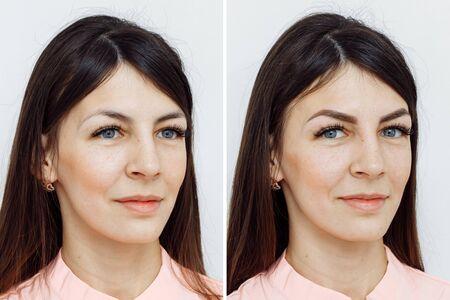 Fotovergleich vor und nach Permanent Make-up, Tätowierung der Augenbrauen für Frau im Schönheitssalon