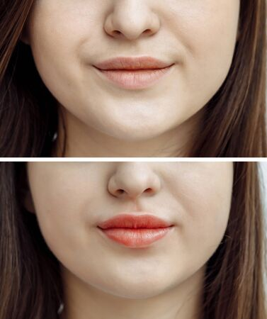 Photo comparison before and after permanent makeup, tattooing of lips for woman in beauty salon Stock Photo