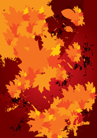 abstract autumn fallen leaves background - vector illustration