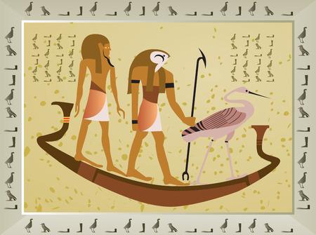나일 강: Papyrus with elements of egyptian ancient history -vector illustration