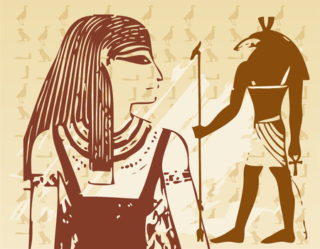 Papyrus with elements of egyptian ancient history  Vector