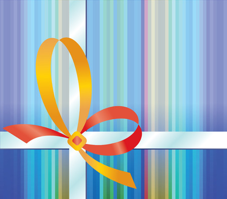 Gift background with yellow bow - vector illustration