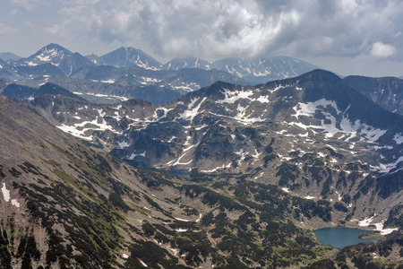Beautiful summer view of south Pirin Mountain, View from Vihren peak, Bulgaria