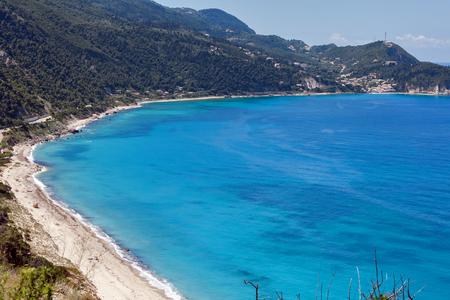 Blue beaches around Agios Nikitas village, lefkada