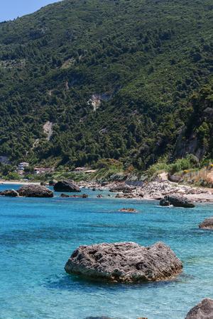 Rocks in the Blue waters of Ionian sea, near Agios Nikitas village, lefkada
