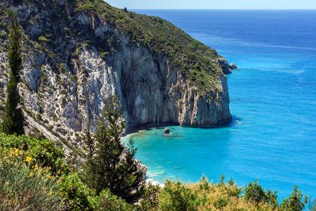 Milos beach at the island of Lefkada in Greece