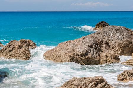 Megali Petra beach at the island of Lefkada in Greece Stock Photo