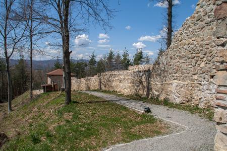 Wall of the Ancient fortress Tsari Mali grad, Sofia Province, Bulgaria Stock Photo