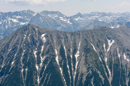 Amazing panoramic view to Todorka Peak from Vihren Peak,  Pirin Mountain, Bulgaria Stock Photo