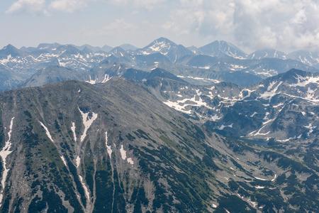 Amazing panoramic view to Pirin Mountain from Vihren Peak, Bulgaria Stock Photo