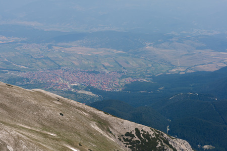 panoramic view Bansko town from Vihren Peak,  Pirin Mountain, Bulgaria