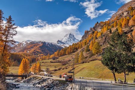 autumn view of Matterhorn peak from Zermatt, Valais, Switzerland Stock Photo
