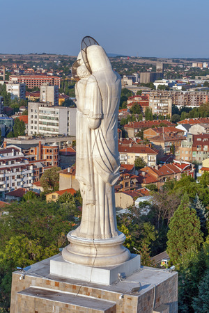 haskovo: Sunset view of City of Haskovo from Monument of Virgin Mary, Bulgaria Stock Photo