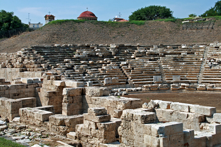 thessaly: Ancient amphitheater in the archeological area of Larissa,  Thessaly region, Greece Stock Photo