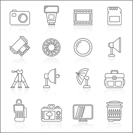 Line photography equipment icons -  icon set Illustration