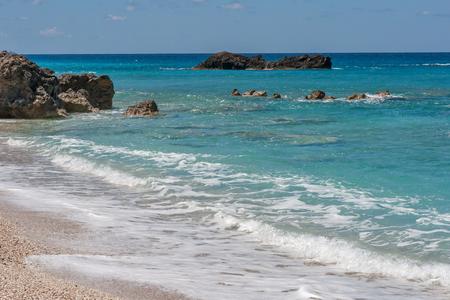 ionian: Landscape with the rocks at Megali Petra Beach, Lefkada, Ionian Islands, Greece