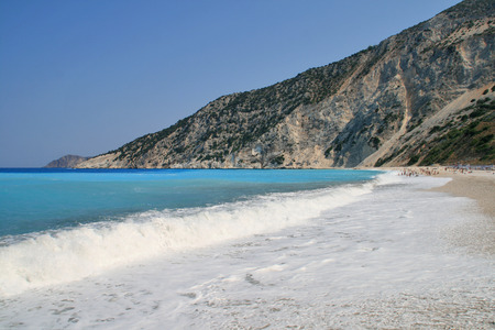 cefallonia: Amazing Seascape of Myrtos beach, Kefalonia, Ionian islands, Greece Stock Photo