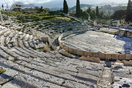 Remains of the Theatre of Dionysus in Acropolis of Athens, Attica, Greece Editorial