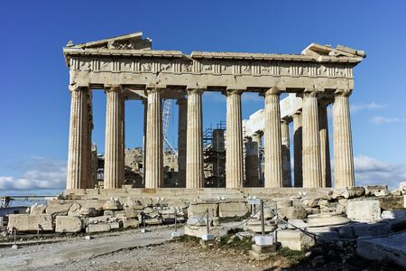 colonnade: Amazing view of The Parthenon in the Acropolis of Athens, Attica, Greece Stock Photo