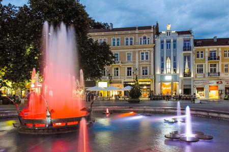 balkans: PLOVDIV, BULGARIA - JUNE 9 2017: Night photo of Walking street in city of Plovdiv, Bulgaria