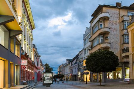 PLOVDIV, BULGARIA - JUNE 9 2017:  Night photo of Walking street in city of Plovdiv, Bulgaria