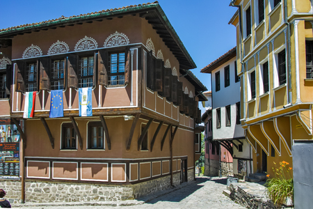 balkans: PLOVDIV, BULGARIA - JUNE 10, 2017: House from the period of Bulgarian Revival in old town of Plovdiv, Bulgaria Editorial