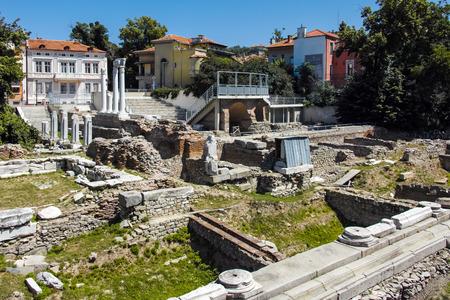 balkans: PLOVDIV, BULGARIA - JUNE 10, 2017: Panorama of Ruins of Roman Odeon in city of Plovdiv, Bulgaria