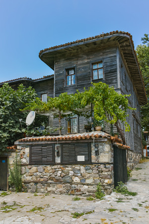 16: SOZOPOL, BULGARIA - JULY 16, 2016: wooden Old house in Sozopol Town, Burgas Region, Bulgaria