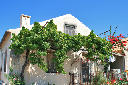cefallonia: FISKARDO, KEFALONIA, GREECE - SEPTEMBER 7, 2012: House with flowers in Fiskardo village, Kefalonia, Ionian islands, Greece