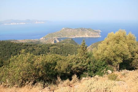 cefalonia: ASSOS, KEFALONIA, GREECE - SEPTEMBER 8, 2012: Amazing panorama of Assos village, Kefalonia, Ionian islands, Greece